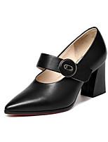 Недорогие -Жен. Комфортная обувь Наппа Leather Лето Обувь на каблуках На толстом каблуке Черный / Бежевый