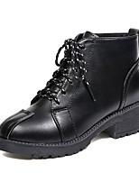 Недорогие -Жен. Армейские ботинки Полиуретан Осень На каждый день Ботинки На толстом каблуке Сапоги до середины икры Черный / Серый