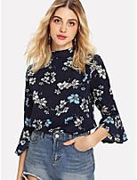 Недорогие -Жен. Блуза V-образный вырез Однотонный / Цветочный принт
