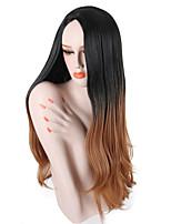 billiga -Syntetiska peruker Vågigt Nyans Middle Part Syntetiskt hår 26 tum Party / Klassisk / syntetisk Mörkbrun Guld Blond Ombre / Nyans Peruk Dam Lång Utan lock Svart / Brun / Ja