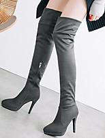 Недорогие -Жен. Fashion Boots Полиуретан Осень Ботинки На шпильке Сапоги выше колена Серый / Красный / Миндальный