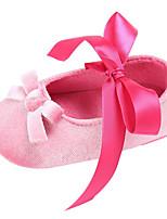Недорогие -Девочки Обувь Шифон Весна & осень Удобная обувь / Обувь для малышей На плокой подошве Бант / Шнуровка для Дети Светло-красный / Розовый / Миндальный