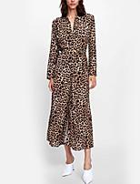 Недорогие -Жен. Винтаж Облегающий силуэт Платье - Леопард Средней длины