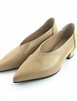 Недорогие -Жен. Комфортная обувь Наппа Leather Осень Обувь на каблуках На толстом каблуке Серый / Коричневый