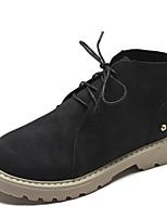 baratos -Mulheres Fashion Boots Couro Ecológico Outono Botas Sem Salto Ponta Redonda Botas Curtas / Ankle Preto / Amarelo / Verde