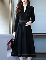 baratos -Mulheres Moda de Rua / Sofisticado Reto / balanço Vestido Sólido / Listrado Médio