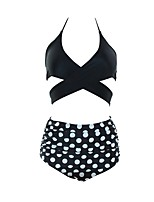 cheap -Women's Basic Bikini - Polka Dot Backless High Waist