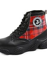 Недорогие -Жен. Армейские ботинки Полиуретан Осень Ботинки На плоской подошве Круглый носок Черный / Бежевый