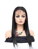 Недорогие -Необработанные Лента спереди Парик Бразильские волосы Естественный прямой Парик Средняя часть 130% С детскими волосами / Легко туалетный / Толстые Нейтральный Жен. Длинные