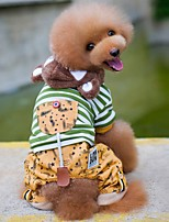 baratos -Cachorros / Gatos Casacos Roupas para Cães Listrado Cinzento / Verde Algodão Ocasiões Especiais Para animais de estimação Unisexo Casual / Aquecimento