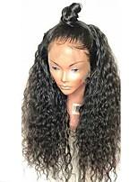 Недорогие -Не подвергавшиеся окрашиванию Лента спереди Парик Бразильские волосы Кудрявый Парик Стрижка каскад 130% С детскими волосами / Природные волосы / Для темнокожих женщин Черный Жен. Длинные