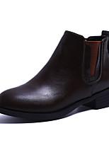 Недорогие -Жен. Ботильоны Полиуретан Осень Ботинки На низком каблуке Круглый носок Ботинки Черный / Темно-коричневый