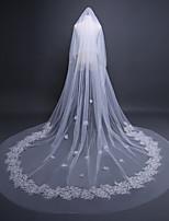 economico -1 strato Vintage / Floreale Veli da sposa Velo lungo (a terra) con Ricamo / Tinta unita 118.11 in (300 centimetri) Tulle / Classico