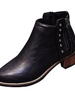 Недорогие -Жен. Ботильоны Полиуретан Осень На каждый день Ботинки На толстом каблуке Ботинки Черный / Хаки