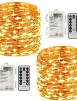 abordables -KWB 2x5M Guirlandes Lumineuses / Télécommandes 100 LED SMD 0603 1 télécommande 13Keys Blanc Chaud / Blanc / Plusieurs Couleurs Imperméable / Créatif / Décorative Piles AA alimentées 2pcs
