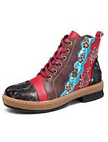 Недорогие -Жен. Комфортная обувь Полиуретан Зима На плокой подошве На низком каблуке Красный