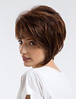 Недорогие -Человеческие волосы без парики Натуральные волосы Волнистый Стрижка под мальчика Природные волосы Темно-коричневый Без шапочки-основы Парик Жен. На каждый день