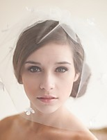 baratos -Uma Camada Estilo vintage / Estilo Clássico Véus de Noiva Véu Ruge com Pétala / Cor Única Tule