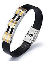 Недорогие -Муж. Классический Кожаные браслеты - Позолота 18К Волна Уникальный дизайн, корейский Браслеты Золотой / Черный Назначение Повседневные
