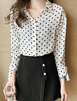 baratos -Mulheres Blusa - Para Noite Poá Colarinho de Camisa Delgado