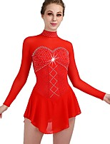 cheap -Figure Skating Dress Women's / Girls' Ice Skating Dress Red High Elasticity Performance / Practise Skating Wear Quick Dry, Anatomic Design Classic / Sexy Long Sleeve Ice Skating / Outdoor Exercise