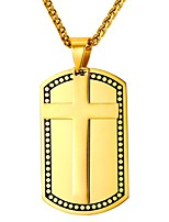 cheap -Men's Classic Pendant Necklace - Stainless Steel Cross Classic Gold, Silver 55 cm Necklace Jewelry 1pc For Gift, Daily
