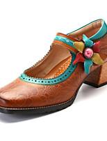abordables -Femme Chaussures de confort Cuir Eté Chaussures à Talons Talon Bottier Jaune