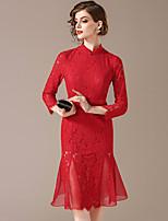 Недорогие -Жен. Шинуазери (китайский стиль) Русалка Платье - Однотонный, Аппликация До колена
