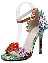 Недорогие -Жен. Балетки Полиуретан Весна & осень Шинуазери (китайский стиль) Обувь на каблуках На шпильке Открытый мыс Цвет радуги