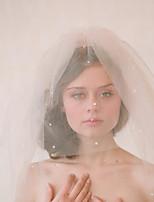 Недорогие -Два слоя Старинный / Классический Свадебные вуали Фата до плеч с Однотонные / Стразы Тюль