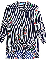 Недорогие -Жен. Футболка / Блуза V-образный вырез Полоски