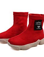 Недорогие -Девочки Обувь Полиуретан Зима / Наступила зима Модная обувь Ботинки Для прогулок С плетеными ремешками для Дети / Дети (1-4 лет) Черный / Красный / Темно-коричневый / Сапоги до середины икры