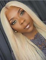 Недорогие -Натуральные волосы Лента спереди Парик Бразильские волосы Прямой Парик Средняя часть 130% С детскими волосами / Горячая распродажа / 100% девственница Блондинка Жен. Длинные