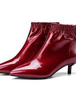 Недорогие -Жен. Ботильоны Лакированная кожа Осень Ботинки На шпильке Ботинки Черный / Винный