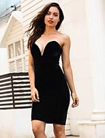 Недорогие -Жен. Изысканный / Элегантный стиль Облегающий силуэт / Оболочка Платье - Однотонный Выше колена
