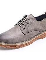 Недорогие -Муж. Комфортная обувь Полиуретан Осень Английский Туфли на шнуровке Нескользкий Черный / Серый / Коричневый