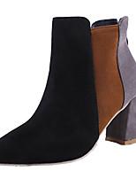 Недорогие -Жен. Армейские ботинки Полиуретан Осень Ботинки На толстом каблуке Заостренный носок Черный / Бежевый / Серый