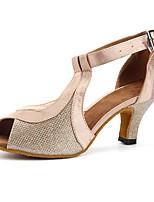 baratos -Mulheres Sapatos de Dança Latina Renda / Cetim Sandália / Salto Purpurina / Recortes Salto Cubano Personalizável Sapatos de Dança Rosa claro