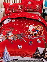 Недорогие -рождественское одеяло обложки устанавливает рождественский полиэстер реактивной печати 3 шт. / 3шт (1 пододеяльник, 2 штыря)