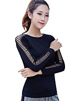 cheap -Women's Cut Out Running Shirt - Black Sports Solid Color Top Yoga, Running, Fitness Long Sleeve Activewear Quick Dry, Breathable, Soft Stretchy