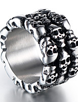 cheap -Men's Vintage Style Sculpture Band Ring - Titanium Steel Skull Stylish, Vintage, Punk 8 / 9 / 10 / 11 / 12 Silver For Street Club