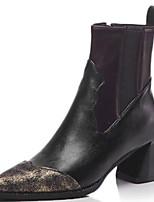 Недорогие -Жен. Fashion Boots Полиуретан Наступила зима Ботинки На толстом каблуке Заостренный носок Сапоги до середины икры Черный / Коричневый / Контрастных цветов