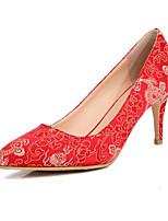 Недорогие -Жен. Комфортная обувь Сатин / Синтетика Осень Обувь на каблуках На шпильке Красный