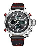 Недорогие -Oulm Муж. Спортивные часы Армейские часы Японский Японский кварц 30 m Защита от влаги Календарь ЖК экран Кожа Группа Аналого-цифровые На каждый день Мода Черный / Коричневый -  / Один год