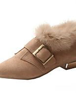 Недорогие -Жен. Fashion Boots Полиуретан Осень Ботинки На низком каблуке Заостренный носок Ботинки Черный / Бежевый