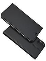 Недорогие -Кейс для Назначение Apple iPhone XR / iPhone XS Max Бумажник для карт / со стендом / Флип Чехол Однотонный Твердый Кожа PU для iPhone XS / iPhone XR / iPhone XS Max