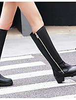 Недорогие -Жен. Fashion Boots Полиуретан Зима Ботинки На толстом каблуке Закрытый мыс Ботинки Белый / Черный / Коричневый