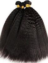 Недорогие -4 Связки Индийские волосы Яки Натуральные волосы Человека ткет Волосы / Пучок волос / One Pack Solution 8-28 дюймовый Нейтральный Ткет человеческих волос Машинное плетение