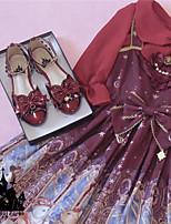 baratos -Estilo Romântico Elegante Salto de bloco Sapatos Sólido Laço 1-3 cm CM Rosa / Vermelho / Dourado Para PU Trajes da Noite das Bruxas