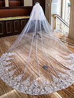 Недорогие -Два слоя С цветами / Кружевная кромка Свадебные вуали Фата для венчания с Аппликации Кружева / Тюль